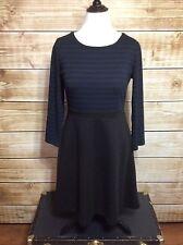 Ann Taylor Loft Blue Black Striped Long Sleeve Empire Waist Dress Size 12
