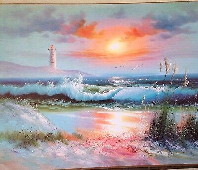 Image Paysage Mer Lac Coucher de Soleil 50x70 Tableau Mural Sur MDF Image Phare | eBay