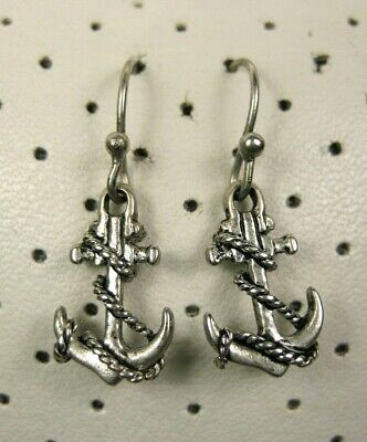 3D Ship/'s ANCHORS Silver Plated Dangle Hook Earrings NEW nautical charms