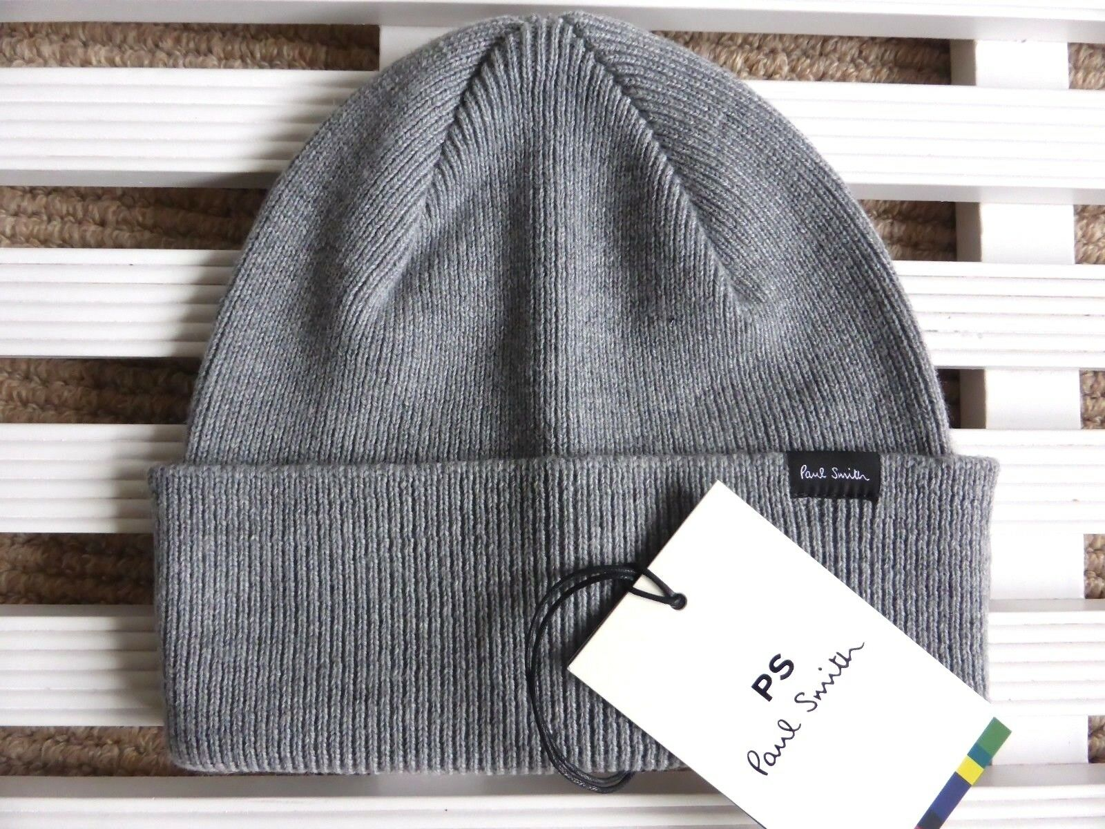 PAUL SMITH Grey  100% Merino Wool Beanie Hat Toque MADE IN SCOTLAND New Tags  clients first reputation first