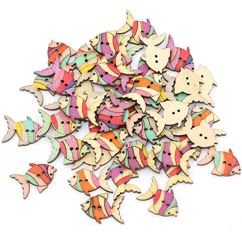 28mm Cute Colorful Painting Fish Pattern Buttons 2 Holes Wood Knopf 50Pc EG/_ HK