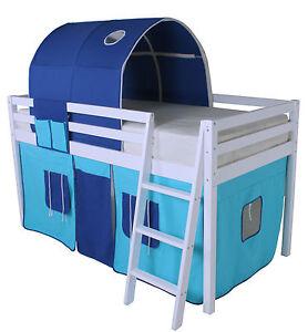 Wooden White Cabin Loft Mid Sleeper Bed 3Ft Single Bunk ...