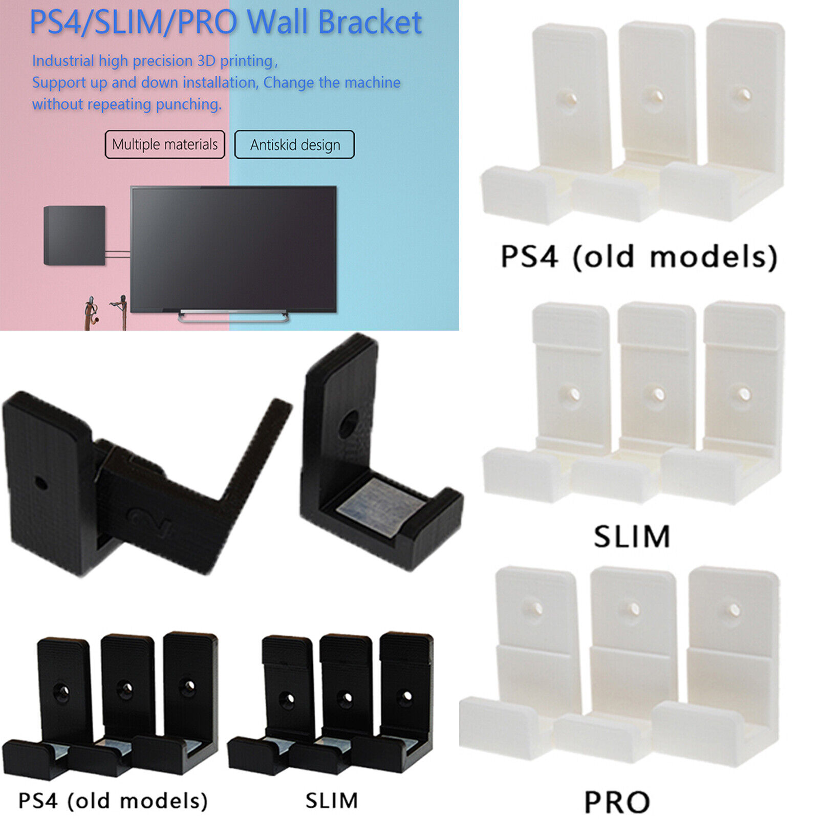 PS4 Wall Mount Bracket Holder Stand For PlayStation 4 PS4 Slim Pro Game Console