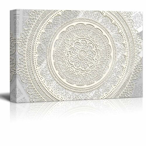 wall26 Canvas White Round Lace Pattern on Vintage Newspaper Background-12x18