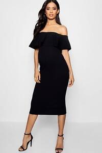63b88fa99a8 Ex Boohoo Maternity Frill Off Shoulder Midi Dress Black Size 8 RRP £20