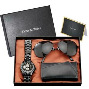 Luxury Gift Set Men's Quartz Analog Wrist Watch Sunglasses Key Package Holder