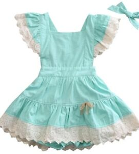 NWT-Girl-size-12M-ADORABLE-3-Piece-Green-Lace-Pinafore-Dress-amp-Bloomer-Outfit
