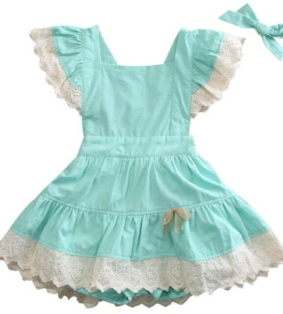 NWT Girl size 4 ADORABLE 3 Piece Green Lace Pinafore Dress & Bloomer Outfit 4T