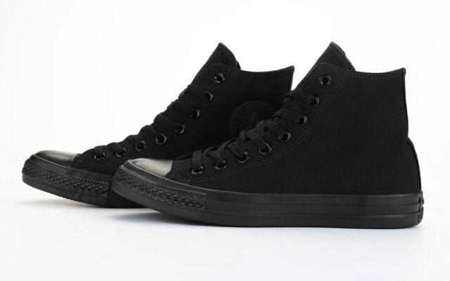 08b96e214577 Converse All Star Chuck Taylor Shoes Black Mono Hi Top Canvas Men ...