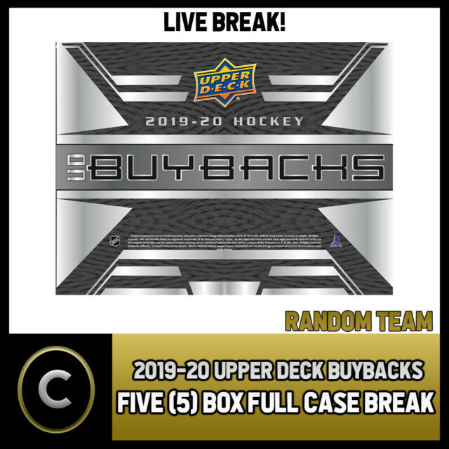 2019-20 UPPER DECK BUYBACKS HOCKEY 5 BOX (FULL CASE) BREAK #H650 - RANDOM TEAMS