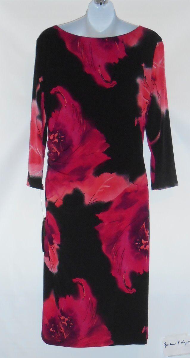 Jones New York 3 4 Sleeve Shirred Dress Dress Dress Coral Combo Ten (10) NWT MSRP  119.00 e7db6b