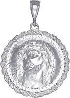 Sterling Silver Jesus Medallion Charm Pendant Necklace Diamond Cut Finish