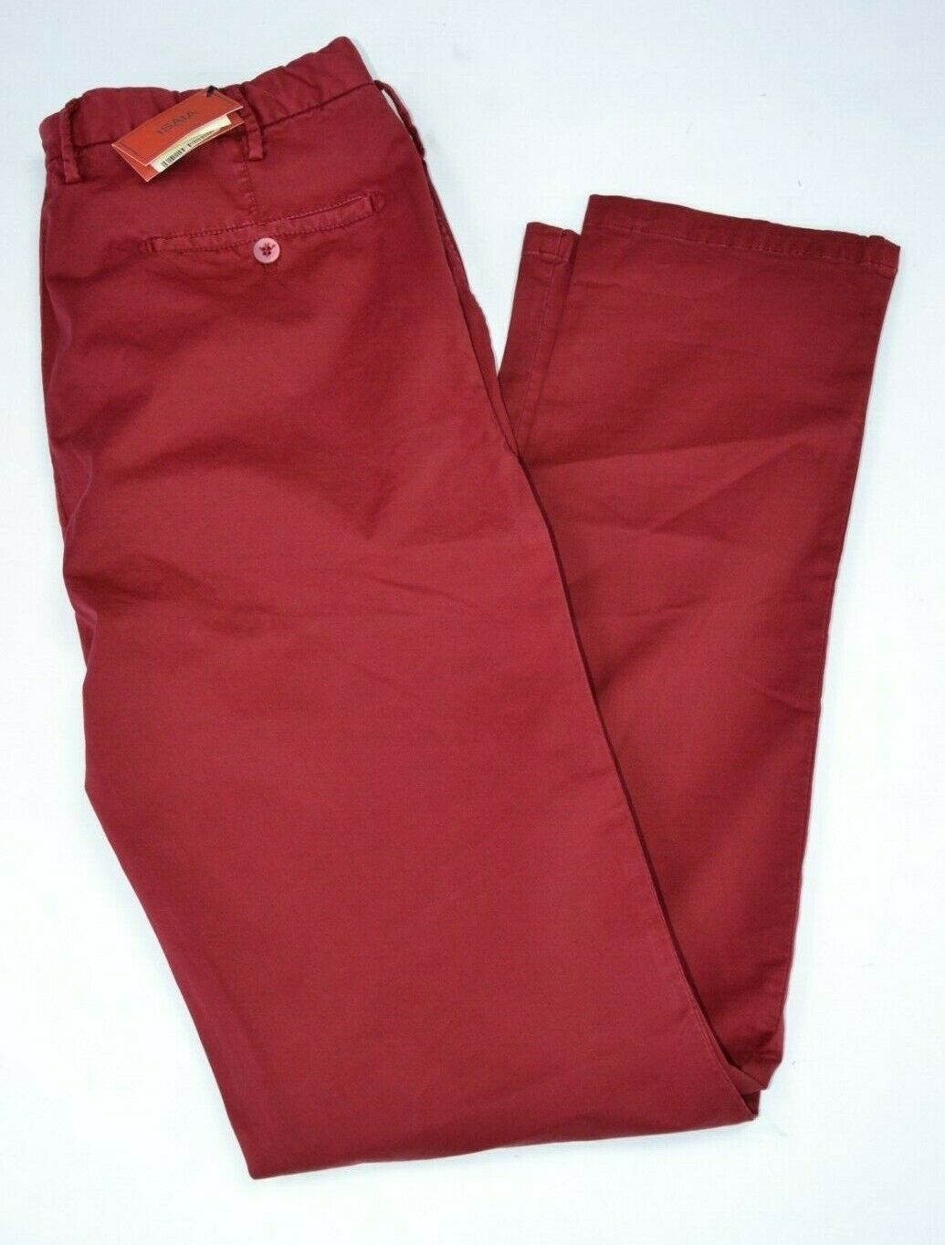 NWT Isaia Napoli IMPERFECT flat front red pants cotton sz 52