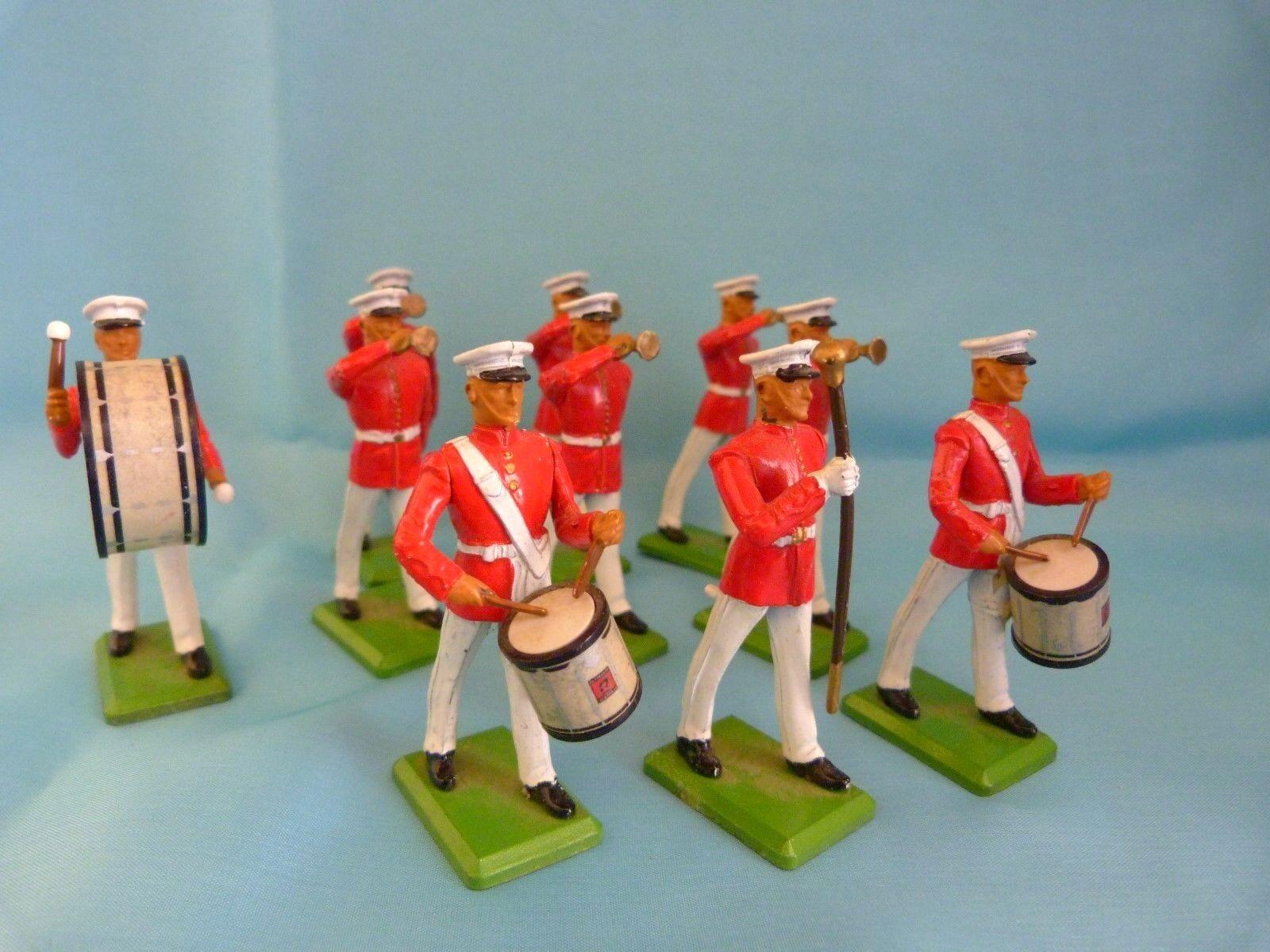 10 soldat de plomb Britains - Fanfare de l'US Navy au défilé - Toy soldiers