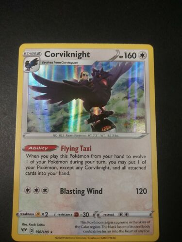 Pokemon Darkness Ablaze Corviknight Holo Rare Card 156//189 NM
