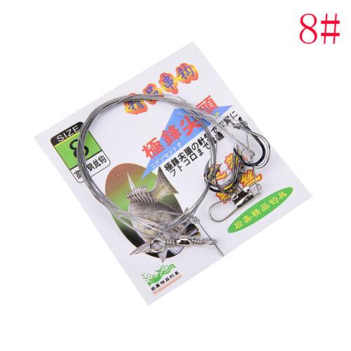 3bag Stainless Steel Fishing Rigs Wire Leader 5String Hook anti-winding hook PLf