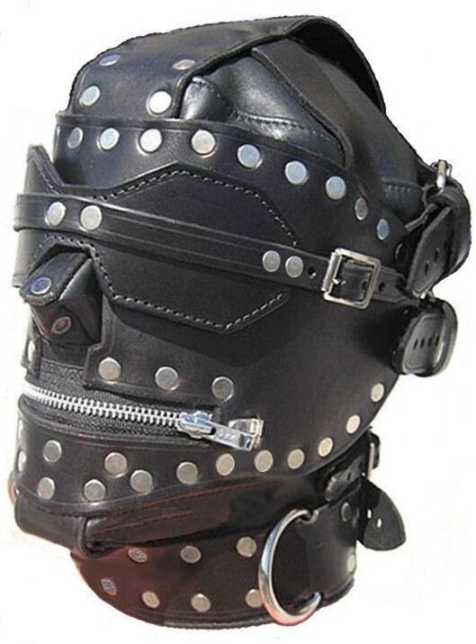 100% Pure Leather bondage Rivets Bondage Hoods Looks glimmer.