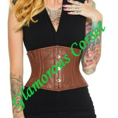 Leather Corset Brown Steel Boned Underbust Steampunk Heavy Shaper Size 18-40/""