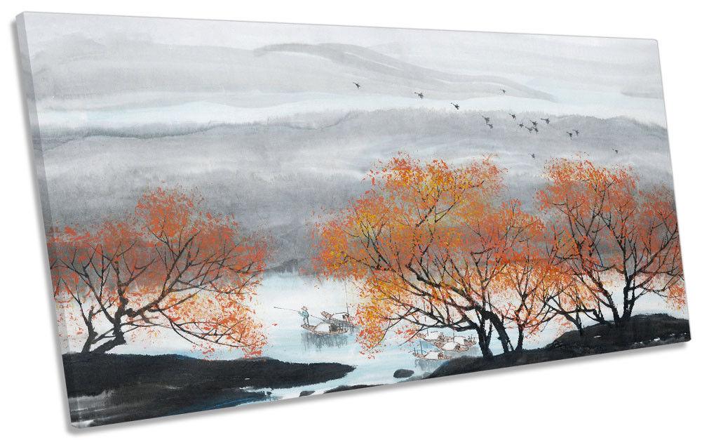 Fishing Lake Orange Trees PANORAMIC CANVAS Wand KunstWORK Drucken Kunst