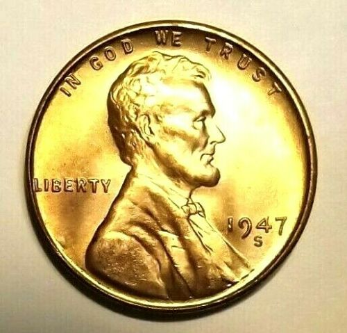 "1947 S Lincoln Wheat 1c/""BRIGHT/""GEM BU//RD/""Original Mint Luster/""from OBW roll"