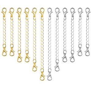 12Pcs-Extensions-De-Chaine-Bijoux-Collier-Homard-Fermoirs-Et-Fermetures-Pou-Y9P8