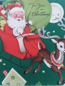 1953-Vtg-SANTA-Sleigh-REINDEER-Man-in-Moon-Smiles-CHRISTMAS-GREETING-CARD