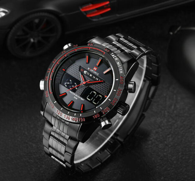 NAVIFORCE Mens Sports LED Digital Watches Business Analog Quartz Wristwatch 9024