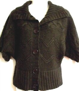 Women-039-s-Brown-Cardigan-Sweater-Size-M