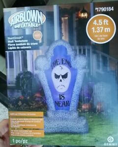 AIRBLOWN-INFLATABLE-HALLOWEEN-4-5-FT-SHORT-CIRCUIT-SKULL-TOMBSTONE-GEMMY-NEW