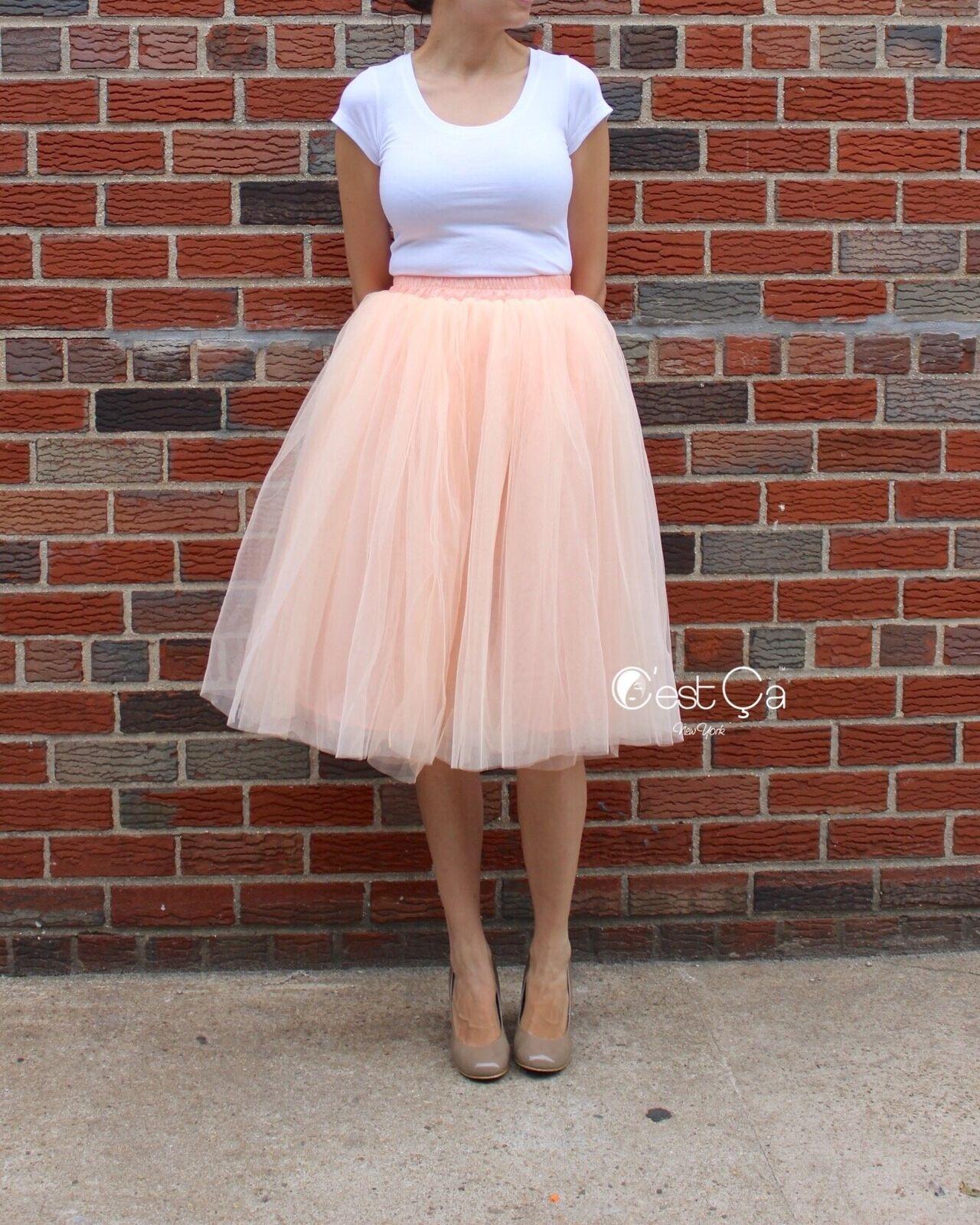 Claire bluesh Peach Soft Tulle Skirt - Below Knee Midi