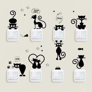 Lovely-Cat-Interrupteur-De-Lumiere-Wall-Stickers-Home-Decor-Dessin-Anime-Mur-Autocollants-Peinture