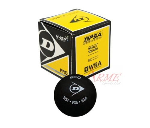 Dunlop Pro Squash Ball (1 Ball Included) - Double Yellow Dot