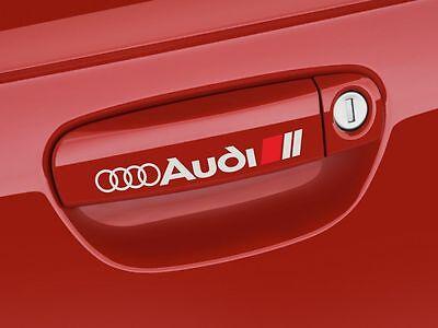 4pcs Audi Door Handle Sport Rings Logo Decal Sticker BLACK A3 A4 A5 A6 A7 A8
