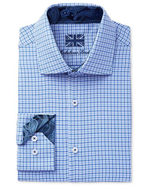 $275 Michelsons London Men Slim-Fit Blue White Stripe Long-Sleeve Dress Shirt L
