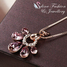 18K Rose Gold Plated Made With Swarovski Crystal Gorgeous Peacock Necklace