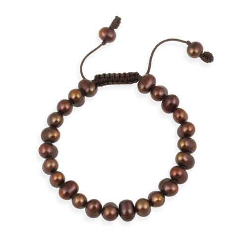 7.5-8mm Freshwater Brown Pearl réglable bracelet
