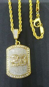 HIP-HOP-FASHION-NUMBER-23-RHINESTONE-GOLD-TONE-PENDANT-AND-CHAIN-JORDAN-3MM-24-034
