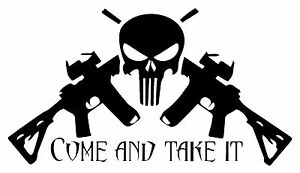 Protected By 2A Skull Decal Sticker AR 15 USA Guns 4X4 Jeep USA Sig Smith