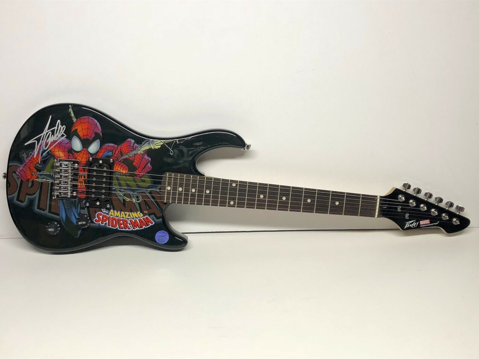 Stan Lee Signed Marvel Spider-Man Peavy Electric Guitar Stan Lee Hologram