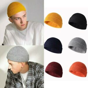Warm-Skull-Ski-Slouchy-Knit-Plain-Hats-Cap-Cuff-Beanie-Men-Women-Winter-Hat