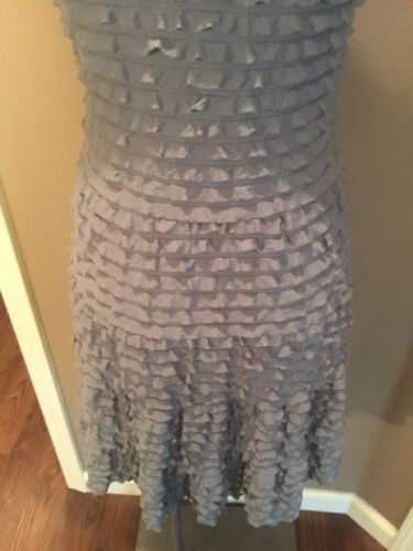 Super S Studio Grey Carino Ruffled Dress Fitted Stretch Max wRq0S5q