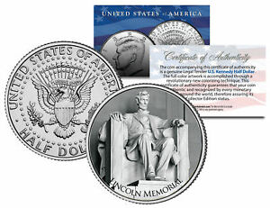 LINCOLN-MEMORIAL-Washington-D-C-JFK-Kennedy-Half-Dollar-U-S-Coin