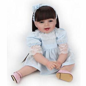 22-034-Reborn-Baby-Doll-Girl-Soft-Vinyl-Real-Life-Newborn-Long-Wig-Toddler-Dolls