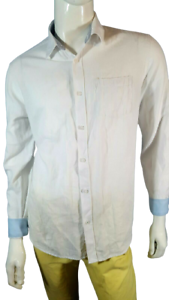 JULES FITTED Taille L Superbe chemise manches longues blanche homme doublure ble