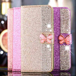 Bling-Diamond-Bowknot-Flip-Stand-Magnetic-Wallet-Case-Cover-For-iPhone-Samsung