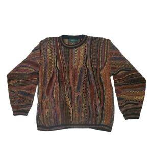 Vintage-Tundra-Erde-farbiger-bunter-COOGI-Style-Textur-Pullover-Biggie-Bill-Cosby-L