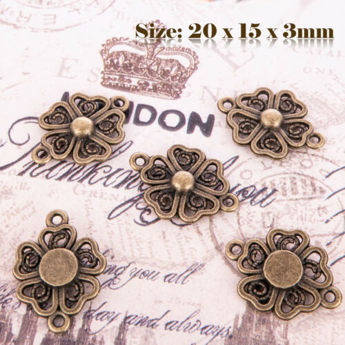 10 Bronze Antique style Vintage Fleur Charms Pendentif Steampunk 147