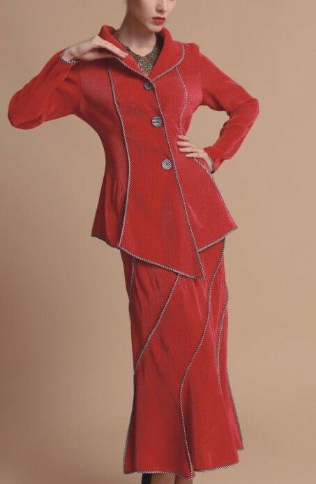 Jerry T Red Red Red Skirt Suit Small S 6 8 SR 3056 Boutique New NWT 2ecb5b