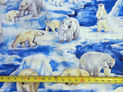 """Polar Bear Bears Artic Ice Pole Glacier C8753 TT 54"""" BOLT END Cotton Fabric"""