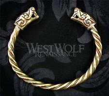 Viking Wolf-Beasts of Burg Bracelet/Torc/Torque - Norse/Medieval/Dragon/Gold NEW